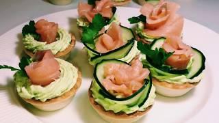 Тарталетки с копченым лососем.