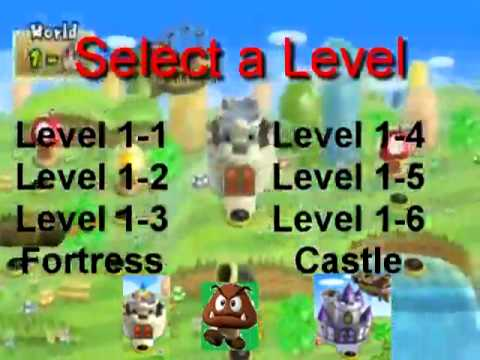 New Super Mario Bros Wii World 1 Map Menu Youtube