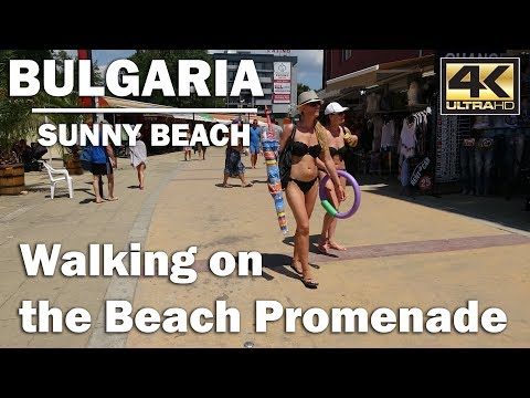 A Walk through the Promenade heading North, Sunny Beach Bulgaria [4K]