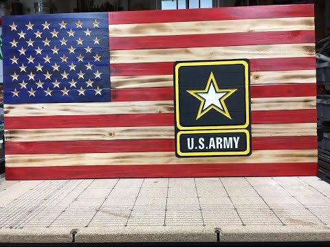 Making Of A Rustic Torched Flag With Army Logo