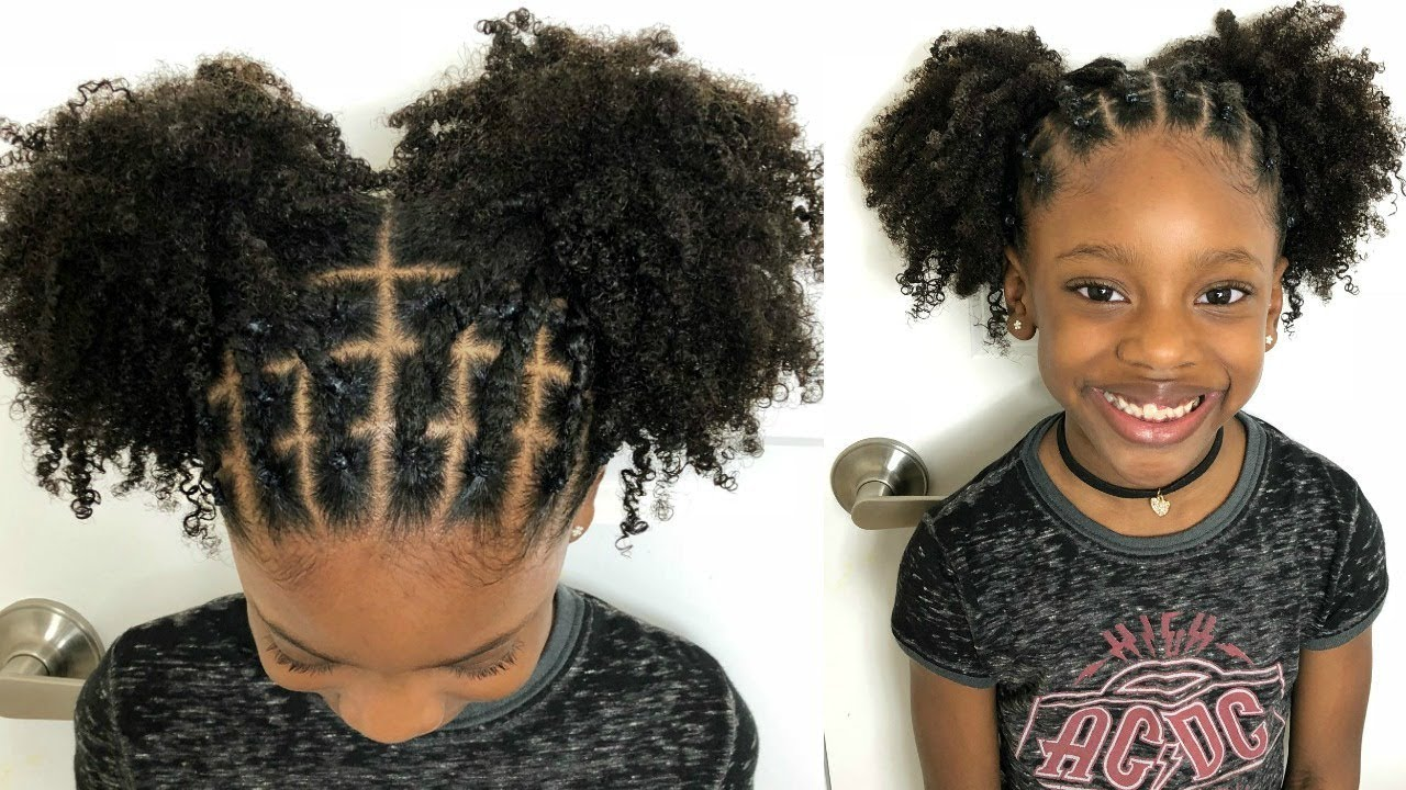 kids natural hairstyles - rubber band protective style on natural
