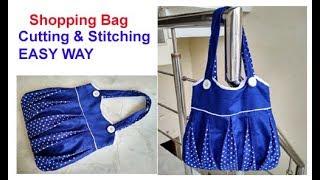 बिना FOAM SHEET, बिना BUCKRAM, बिना CANVAS ,बिना INTERLINING से बनाए -EASY BIG SHOPPING HANDMADE BAG