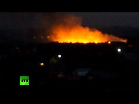Moment Ukraine Il-76 military transport jet shot down in Lugansk