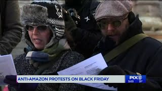 Anti-Amazon protests mark Black Friday in NYC
