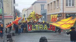Jagiellonia Bialystok (Poland) fans on ULTRAS DAY 17.02.2018 (before match v. Cracovia)
