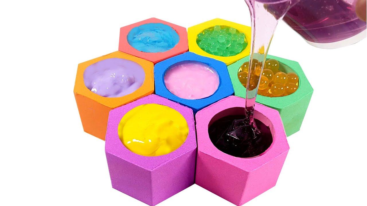Satisfying Video & Learn Color & DIY Kinetic Sand Slime Honeycomb