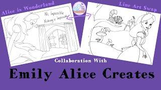 Collab with Emily Alice Creates   Alice in Wonderland Line Art Swap