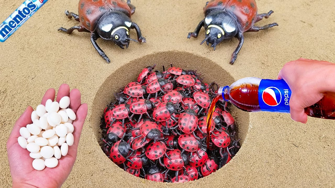 Mentos VS Coca Cola, Sprite, Monster, Fanta, different Toy insect and Mentos in underground