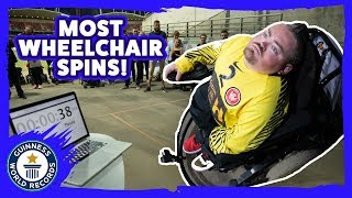 Most power wheelchair spins in one minute - Guinness World Records