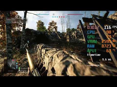 GeForce GTX 1650 SUPER -- Intel Core I3-9100F -- Battlefield V BFV FPS Test Low Settings