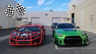Twin Turbo LAMBORGHINI RALLY CAR VS 1000HP WIDE BODY GTR! **THE ULTIMATE RACE**