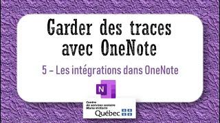 5- Les intégrations dans OneNote