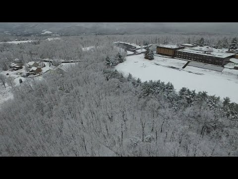 DJI Inspire 1 Drone in Winter Storm Mars - Snow on Bishop Walsh School and Cumberland, Maryland 4k