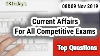 Daily Current Affairs November 08-09 , 2019 : English MCQs | GKToday