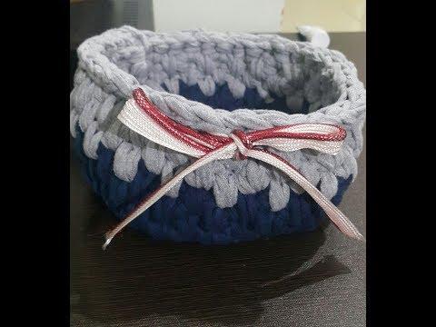 how to crochet bowl shape basket (handmade t-shirt yarn)