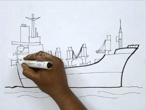 how to draw a cargo ship youtube