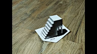 How to draw 3D Stairs - Artistic 3D Illusion - Awesome 3d drawing - Art Maker Akshay