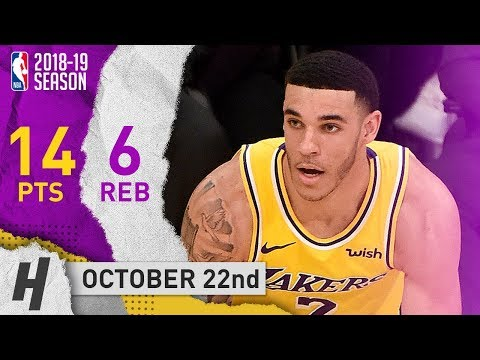 Lonzo Ball Full Highlights Lakers vs Spurs 2018.10.22 - 14 Pts, 6 Reb, 6 Ast