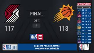 Trail Blazers @ Suns | NBA on TNT Live Scoreboard