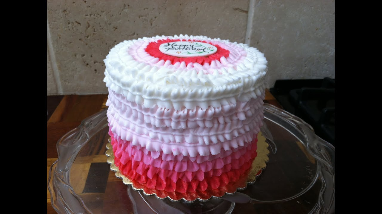 Buttercream Ruffle Cake Decorating : Pink Ombre Buttercream Ruffles - YouTube