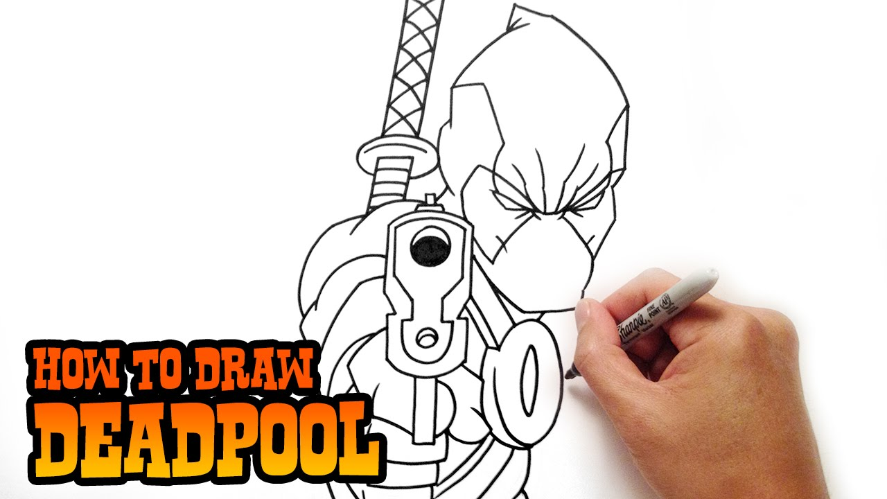 How to Draw Deadpool- Step by Step Lesson - YouTube