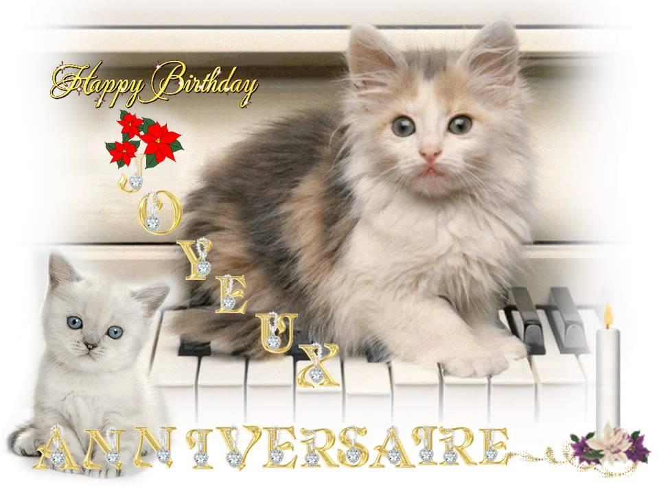 carte anniversaire musicale avec chat