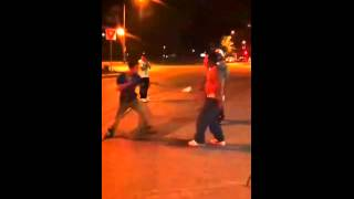 Skater knocks two gangsters out cold!