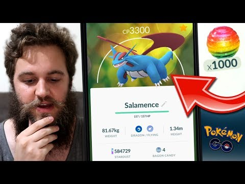 SPENDING MY 1,000+ RARE CANDY - INSTANT SALAMENCE, DAY ONE! (POKEMON GO)