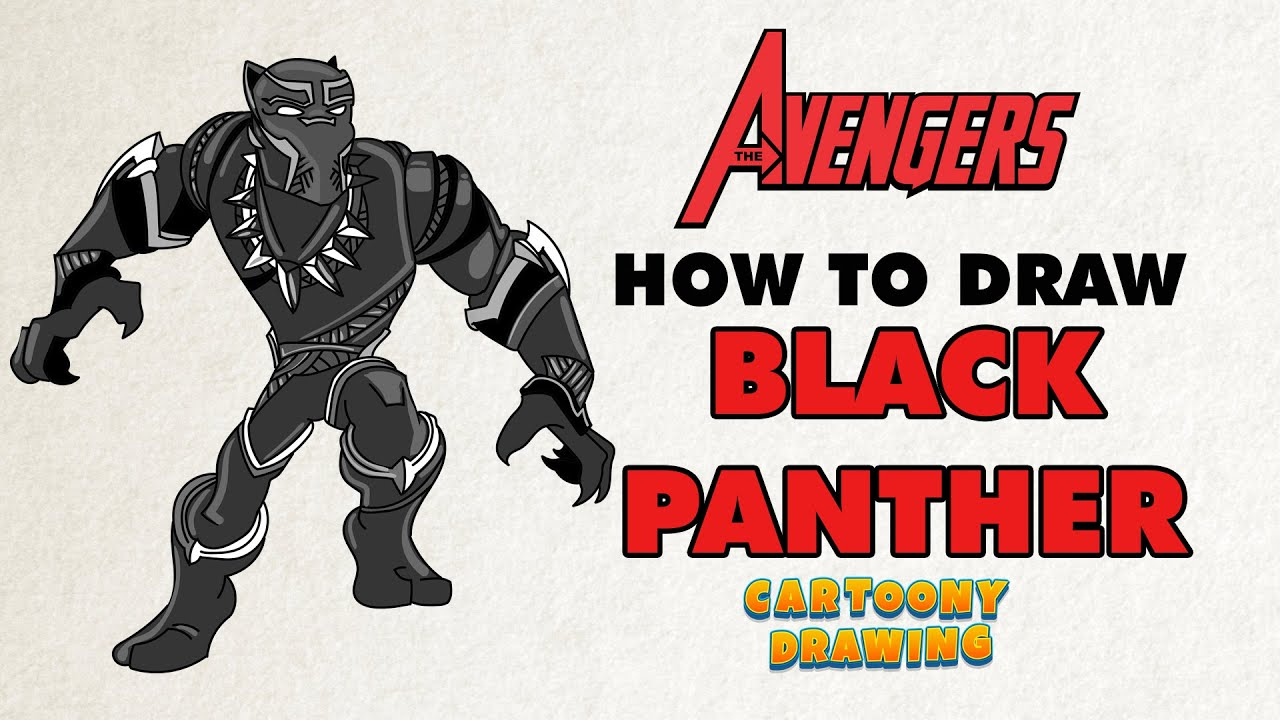 black panther how to draw black panther the avenger in three minutes