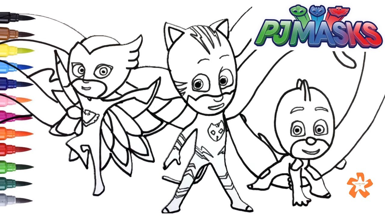 pj masks gekko catboy and owlette coloring pages for children with color kids tv