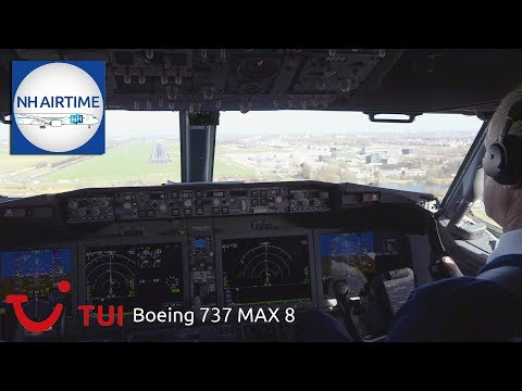 BOEING 737 MAX 8 TUI Fly COCKPIT VIEW from AMSTERDAM to ROTTERDAM