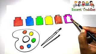 Learn How to Draw ☆Paint palette☆ Coloring FOR Creative kids,Children,Toddlers #05