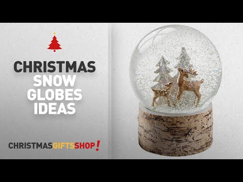Top Christmas Snow Globes Room Decorations: WeRChristmas Deer and Fawn with Birch Base Snow Globe