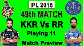 Kkr Vs Rr Match 49 Ipl 2018 Possible Playing 11 | Head To Head