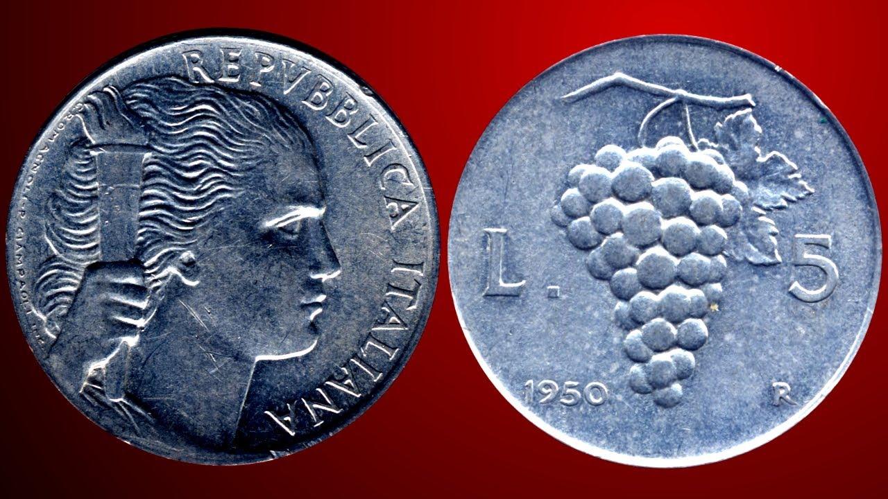 5524c94001 Moneta da 5 Lire Uva del 1950 in dettaglio e curiotià | Numismatica Soldi e  Banconote - YouTube