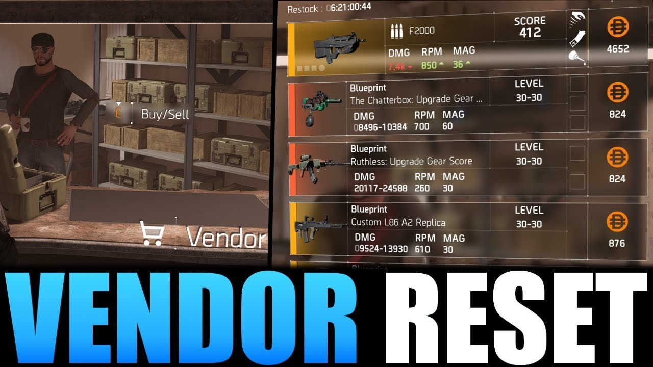 The Division 2 - VENDOR RESET   GREAT WEAPONS, GEAR & MODS! (YOU NEED TO  BUY)