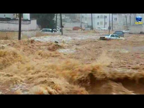 عاصفة بردية عملاقة تضرب شرق مكة المكرمة ، المغمس ، السعودية