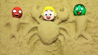 Sand Beach Baby Heroes 💕 Play Doh Stop motion videos for kids