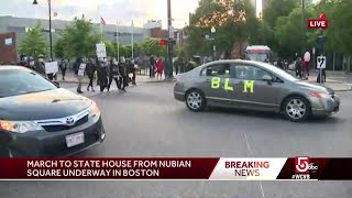 Parade of cars join Boston protest of George Floyd's death
