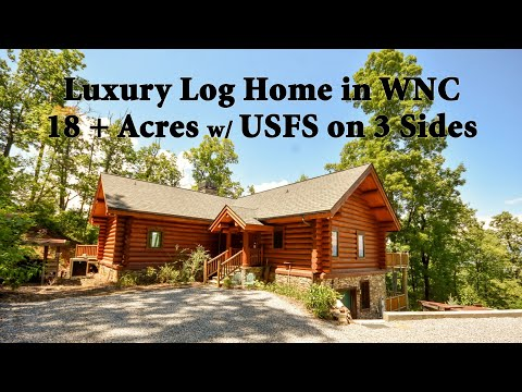 LUXURY Log Home Living In Franklin NC Mountains On 18 Acres Surrounded By USFS