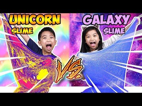 DIY Metallic GALAXY Slime vs DIY UNICORN Slime Challenge! JK Slime | Fun Kids Video