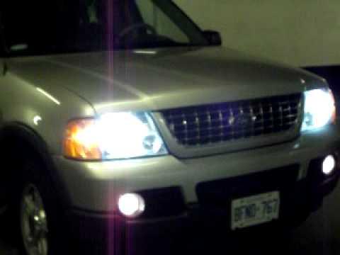 Xenon 8000k hid lights on 2003 Ford Explorer xlt  YouTube