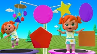 Learn Colors & Shapes for Children with Little Baby Fun Play on Trampoline Park 3D Shapes Kids Games