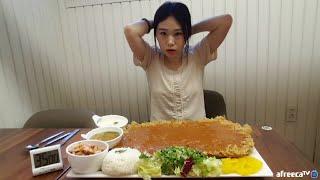 SUB 대왕돈까스!! 덕후돈까스 35분안에 다 무보자 도전 먹방 Challenge Mukbang eating show
