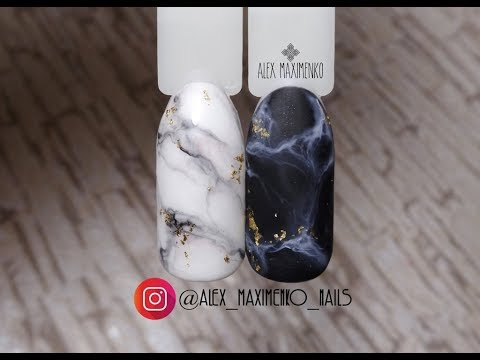 Ногти мрамор черный