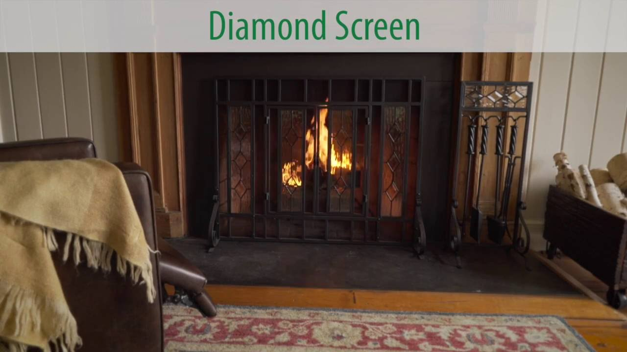 beveled glass diamond fireplace screen sku 10385 plow u0026 hearth
