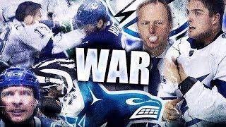 CANUCKS VS LIGHTNING WAR ANGRIEST GAME OF THE YEAR - DANICK MARTEL HEADSHOT ON STECHER / GUDDY PUNCH