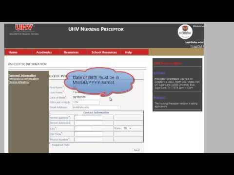 UHV Preceptor Account Creations