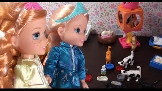Barbie's pet shop with Moana and toddler Cinderella and Kristoff-Barbie episodes