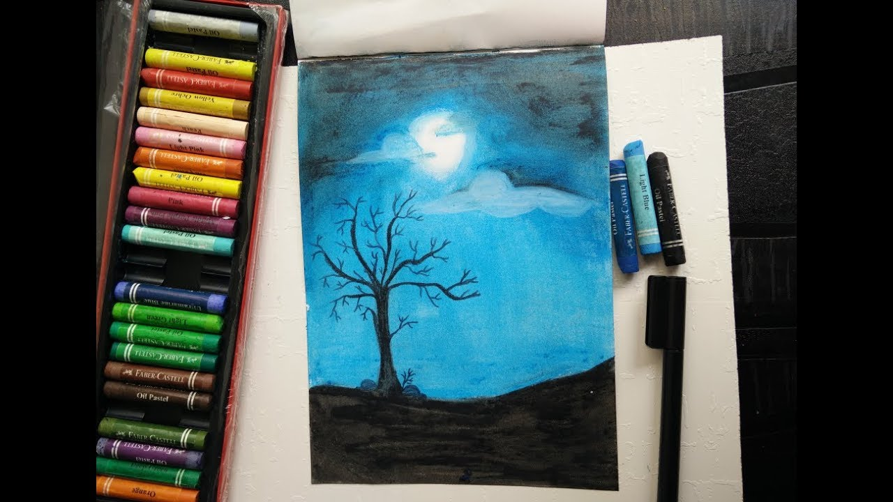 Drawing Moonlight Scenery With Oil Pastels For Beginners Youtube